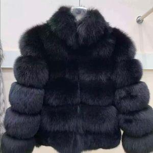 Real fox fur coat for women
